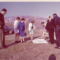 Group surveying site for Pepperdine in Malibu, ca. 1970