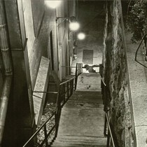 "Body at base of steps for ""The Exorcist"""