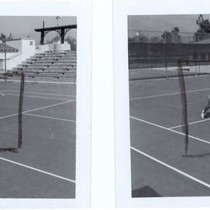 Two views of a woman playing tennis at Arcadia Community Regional Park