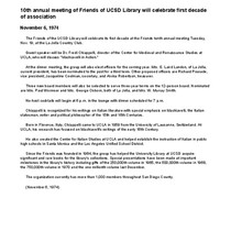 10th annual meeting of Friends of UCSD Library will celebrate first decade ...