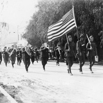 Armistice Day Celebration with marching band in downtown Banning, California
