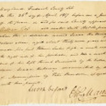 Affidavit Confirming that Isaac Holloway was Manumitted by Peter Benedum, 1817 April ...