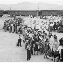Newcomers awaiting induction.--INCOMING--Photographer: Aoyama, Bud--Heart Mountain, Wyoming. 9/?/43