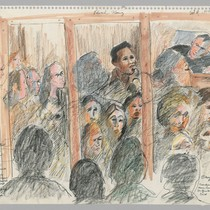9/4/75 Witness Edward Fleming, Judge Henry Broderick. Faces of Spectators reflected in ...