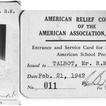 American Relief Committee Identification Card
