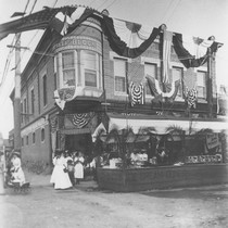 1910 Street Fair, booths in front of Campbell Building and Dittmer's Mission ...