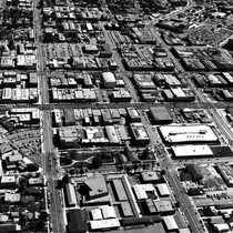 Aerial view of Inglewood, California looking east