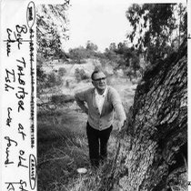 "View of photographer, William ""Bill"" Talbitzer at the Ishi discovery site near ..."
