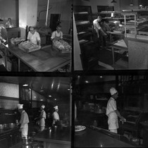 Photograph montage of the Mission Inn bakery and kitchen, with people