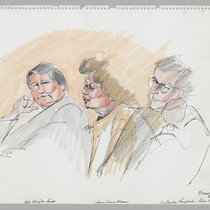 12/16/75 Defense Attorney James Hewitt, Sara Jane Moore, F. Steele Langford (Asst. ...