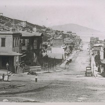 Mason Street looking north from Clay. 1868