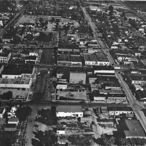 Aerial photograph of downtown Banning, California in the 1950s
