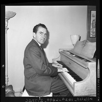 Richard Nixon playing piano in Beverly Hills, Calif., 1962