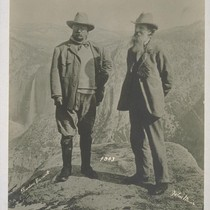 John Muir with Theodore Roosevelt, Glacier Point, 1903