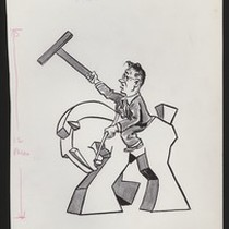 Cartoon of University of Southern California football coach Jeff Cravath riding a ...