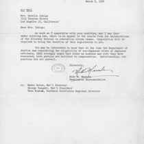 Letter, 1954 March 2, Washington, D.C. to Mrs. Estelle Ishigo, Los Angeles, ...