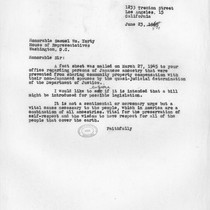 Letter, 1954 June 23, to Honorable Samuel Wm. Yorty, Washington, D.C