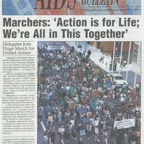 "Cover of 1990 AIDS Conference Bulletin with headline ""Marchers: 'Action is for ..."