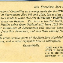 Announcement card from the Conference Arrangements Committee of the California Pharmaceutical Society