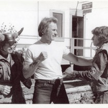 Bill McKinney, Clint Eastwood, and Chuck Waters rehearsing a fight scene