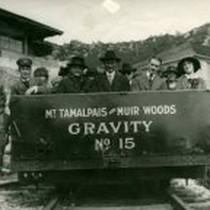 Tamalpais gravity car leaving the Tavern of Tamalpais, circa 1915