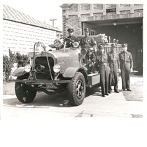 African American members of Oakland Fire Department engine company No. 22 pose ...