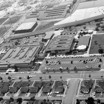 An aerial shot of Commerce City Hall, Aquatorium, and Central Library