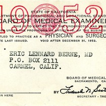 California State Board of Medical Examiners annual certification card for Eric Berne