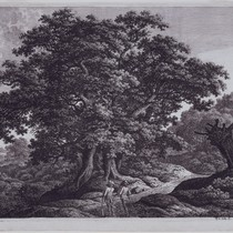 Landscape with Two Huntsmen or Eichengruppe in Buschlandschaft (Group of Oak Trees ...
