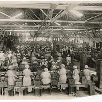 Women and men at work in one of the largest fruit canneries, ...