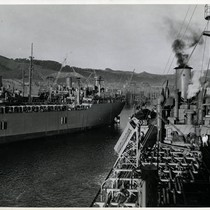 SS Mission Purisima, a T-2 tanker built at Marinship, Marin County, pulling ...