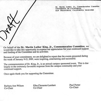 Dr. MLK Jr. Commemoration Committee draft letter to supporters