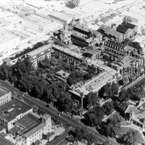 Aerial photograph of the Mission Inn, Riverside, California