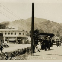 Main Street (now Broadway) and the railroad depot, Fairfax, Marin County, California, ...
