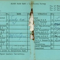 WPA block face card for household census (block 1150) in Los Angeles ...