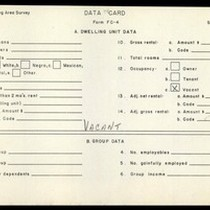 WPA Low income housing area survey data card 118, serial 6988, vacant
