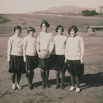 The 1924 Pacific Palisades girls' basketball team (Left to right: Nellie Henderson, ...