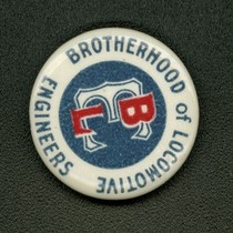 Brotherhood of Locomotive Engineers lapel button, ca.1950s