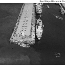 Aerial view of a large group of people on a pier docked ...