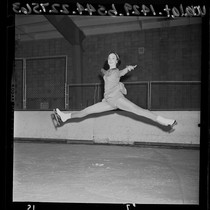 16 year-old ice skater Peggy Fleming practicing jump for national title, 1965