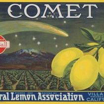 Crate label, Comet Brand, Central Lemon Association, Villa Park, California