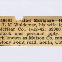 B40661, chattel mortgage [a newspaper clipping referencing a chattel mortgage between H. ...