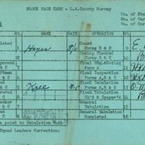 WPA block face card for household census (block 1023) in Los Angeles ...