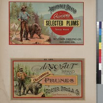 Album page with an Argonaut Brand California Selected Plums label and an ...
