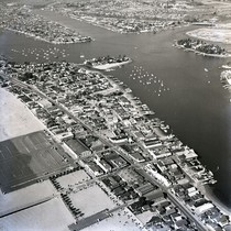 Aerial view of Balboa business district, Newport Beach, California: Photograph