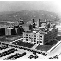 Aerial view of Physics-Biology Building (Humanities Building) with Library (Powell Library) and ...