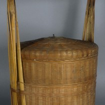 Basket, bamboo & wicker with two trays, lid & handle