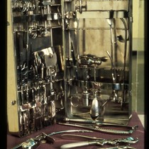 UCSF Origins of Excellence exhibit surgical instruments display