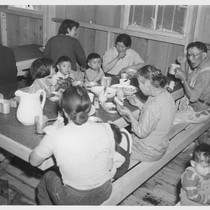 Manzanar, Calif.--Mealtime during early days after evacuation at Manzanar, now a War ...