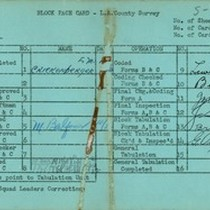 WPA block face card for household census (block 1149) in Los Angeles ...